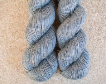 Hand Dyed Yarn Baby Alpaca/Silk/Linen 50/25/25 Fingering Weight - 4ply - 100 grams - 400m/440yards - OOAK Blue/Gray
