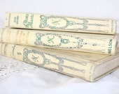 Vintage French Books, Original Nelson Editions, Antique Books, Decorative Book Set, Set of 3 Books, 1920s, Canvas Book Cover, French Antique