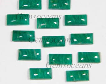 10 Pieces Lot Natural Green Amazonite Baguette Shape Gemstone Smooth Polished Loose Cabochon