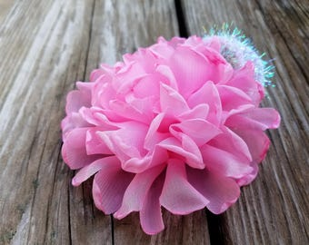 Pink Flower Hairclip, Hair Accessory, Girls Accessory, Girls Headband, Girls Hairclip,, Flower Hairclip, Photo Prop, Easter, Spring Clip