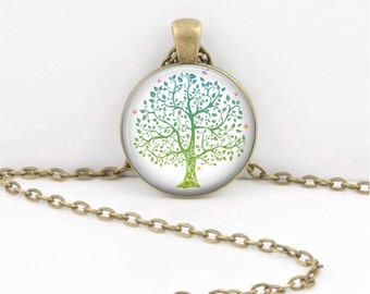 Spring Green Tree of Life Pendant Necklace or Key Ring