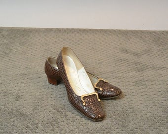 "60s Alligator Loafer// Gidding Jenny ""Julianelli"" Shoes// Aligator Loafer"