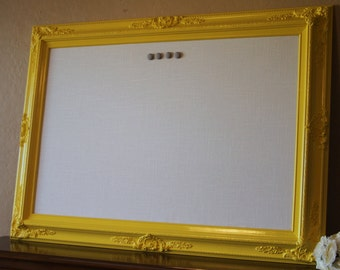 "Framed Fabric Magnet Board Large Magnetic Bulletin Board XL 44""x32"" Vintage Wedding Shabby Chic"