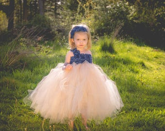 Navy and Champagne Flower Girl Dress, Navy and Champagne Tutu Dress, Navy Flower Girl Dress, Champagne Flower Girl Dress, Flower Girl Dress