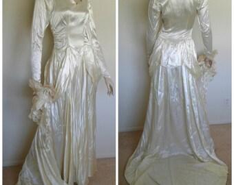 Art deco wedding dress etsy vintage 30s40s wedding dresswhite ivory satin art deco bridal long gown junglespirit Gallery