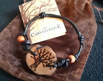 Tree Of Life Bracelet, Wood Bracelet, Inspired By Nature,  One Of A Kind
