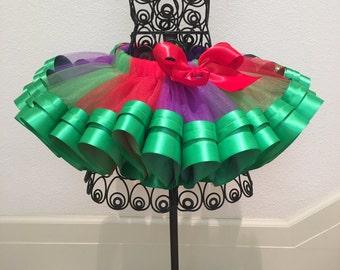 Red, Purple, Green Ribbon Tutu, Princess Ariel Ribbon Tutu/ The Little Mermaid Tutu, Tutu For Girl's Party/ Birthday