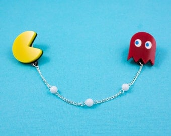 Pacman and Blinky - Double Brooch with Chain