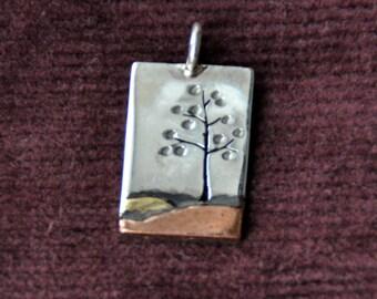 Handmade Mixed Metal Sterling Silver, Copper & Brass Alder Tree Landscape Pendant