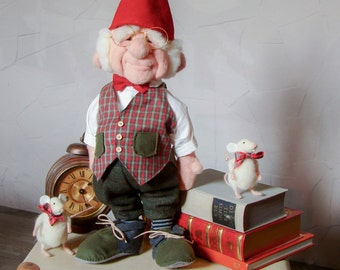 Needle felted Gnome  and Mouse  - Bill and Mouse