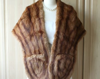 Vintage Real Golden Brown Muskrat Musquatch Fur Shrug Stole Wrap with Pointed Tips Wedding Occasion S9