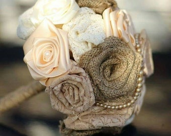 Handmade rustic hessian ribbon and lace wedding bouquet