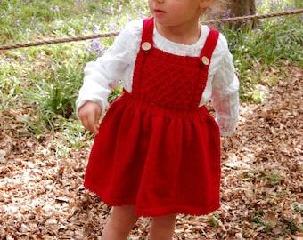 Toddler dress, toddler pinafore,  girls clothing, dungaree dress, smocked dress, baby dress, first birthday outfit, flower girl dress  2-3yr