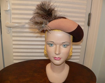 1940s 1950's New York Creation Tri Colored Brown Felt Hat with Feather Trim
