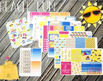 Beach Fun Weekly Planner Stickers Kit - Vertical Planner Kit - Summer Planner Kit