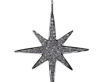Victorian pave Diamond Star Charm Pendant best offer sale 925 silver