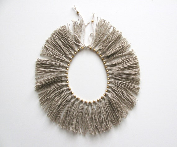 "Full Fringe Choker with brass beads, ""Natural"""