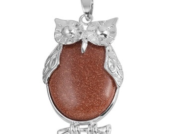 Owl Pendant Red Goldstone Silvertone without Chain TGW 3.30 cts.