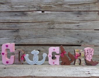 Cowboy decor - Western Decor - Southwest Decor - Coyote Decor - Cowgirl Letter set - Pink Cowgirl Letters