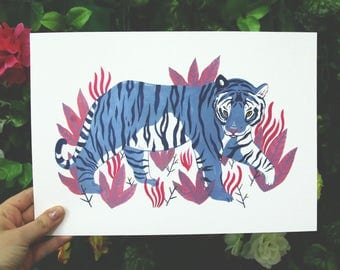 Sneaky Tiger // A4 Giclee Print