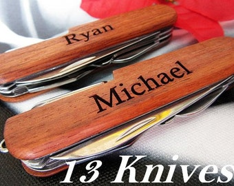 Set of 13 Personalized Knife // Best Man and Groomsmen Gifts // Bachelor Party Gift Ideas // Ring Bearer, Usher, Officiant, Father Knives