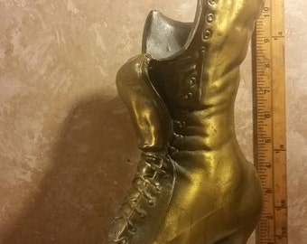 Cast Brass-tone Victorian Boot Vase