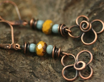 Copper Earrings, Flower Earrings, Copper Link Earrings, Copper Flower Earrings, Copper Wire Wrapped Earrings, Copper Dangle Earrings (#1681)
