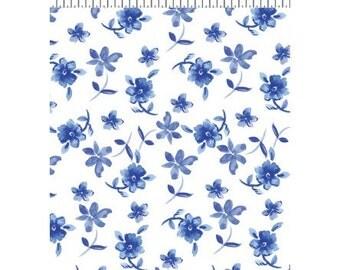Blue Porcelain by Clothworks - White Floral off the bolt Y2040-1