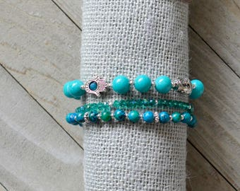 Turquoise Trio Beaded Bracelets: Turquoise and Silver Accents