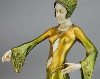 French Art Deco Elegant lady sculpture bronze chryselephantine GORI 1920