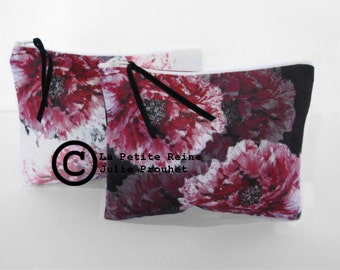 case, toilet bag Peony black or white