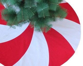 Red White Christmas Tree Skirt Peppermint Candy Design Modern