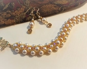 Swarovski Pearl and Crystal Bracelet with Matching Earrings