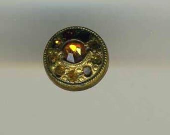Vintage Button Dimi Brass with Topaz Glass