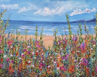Ocean Summer Beach Fine Art Print, Impressionism Seascape with wildflowers on the sandy beach shore