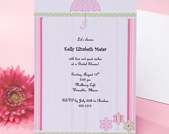 12 Pink Umbrella Bridal Shower Invitations - Print Your Own