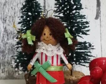 Vintage 1988 Dakin Wooden Girl wit Braids Christmas Ornament