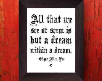 Printable Edgar Allen Poe Quote, Gothic Wall Art Print, Instant Download