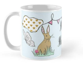 bunny mug, gift with bunny on, easter bunny, bunny decor, rabbit mug, easter mug, bunny lover, bunny gifts, bunny lover gift, bunny ornament