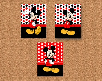 """Mickey Mouse  Red Black White Dots Trio 8""""x10"""" Wall Art Prints"""