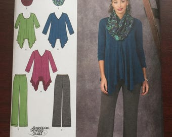 Simplicity Pattern #1323, Misses' Knit Tunic and Pants, Sizes 6-14, New