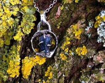 "Contemporary pendant ""Dorkan"" for men - Blue Tourmaline and sterling silver"