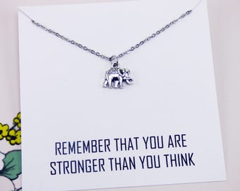 Silver Elephant Necklace, stronger than you think, meaningful necklace, jewelry with meaning, strength necklace, inspirational necklace