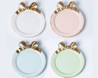 4 pcs Antique Mini Round Tray / Mini Plate for Cupcake, Coaster, Jewelry dish -  Golden Ribbon Bow - DIY Tea Party