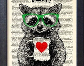 Raccoon art print, tea time, DICTIONARY Print, poster, mug of tea, Book pages, Dorm home Wall decor, Gift poster, CODE/172
