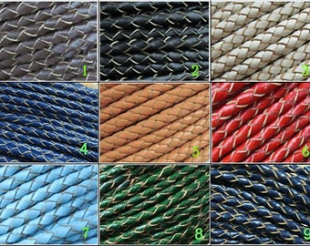 3mm Braided leather cord 3mm round leather strip Necklace Bracelet leather cord