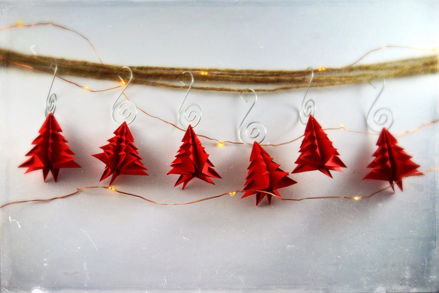 red origami christmas tree paper ornament 6 pack by