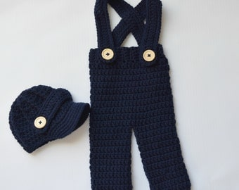 Crochet newsboy hat ,with long pant,with suspenders in Navy,crochet baby boy hat and pant for photo prop