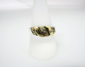 c063 Vintage Amazing Sterling and 10k Tri Color Gold Ring