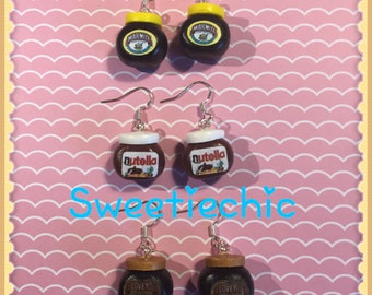 Marmite, Marmite with Champagne or Nutella Sterling Silver  Earrings